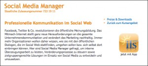 Screenshot aus dem Angebot des ils: Social Media Manager